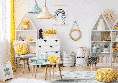 beautifully decorated nursery with great organization