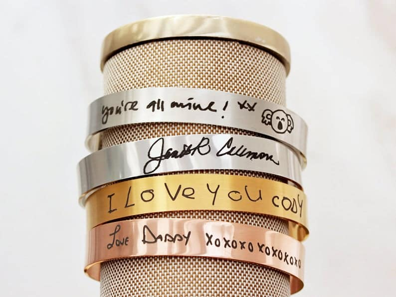 cuffs with handwriting for etsy christmas gifts