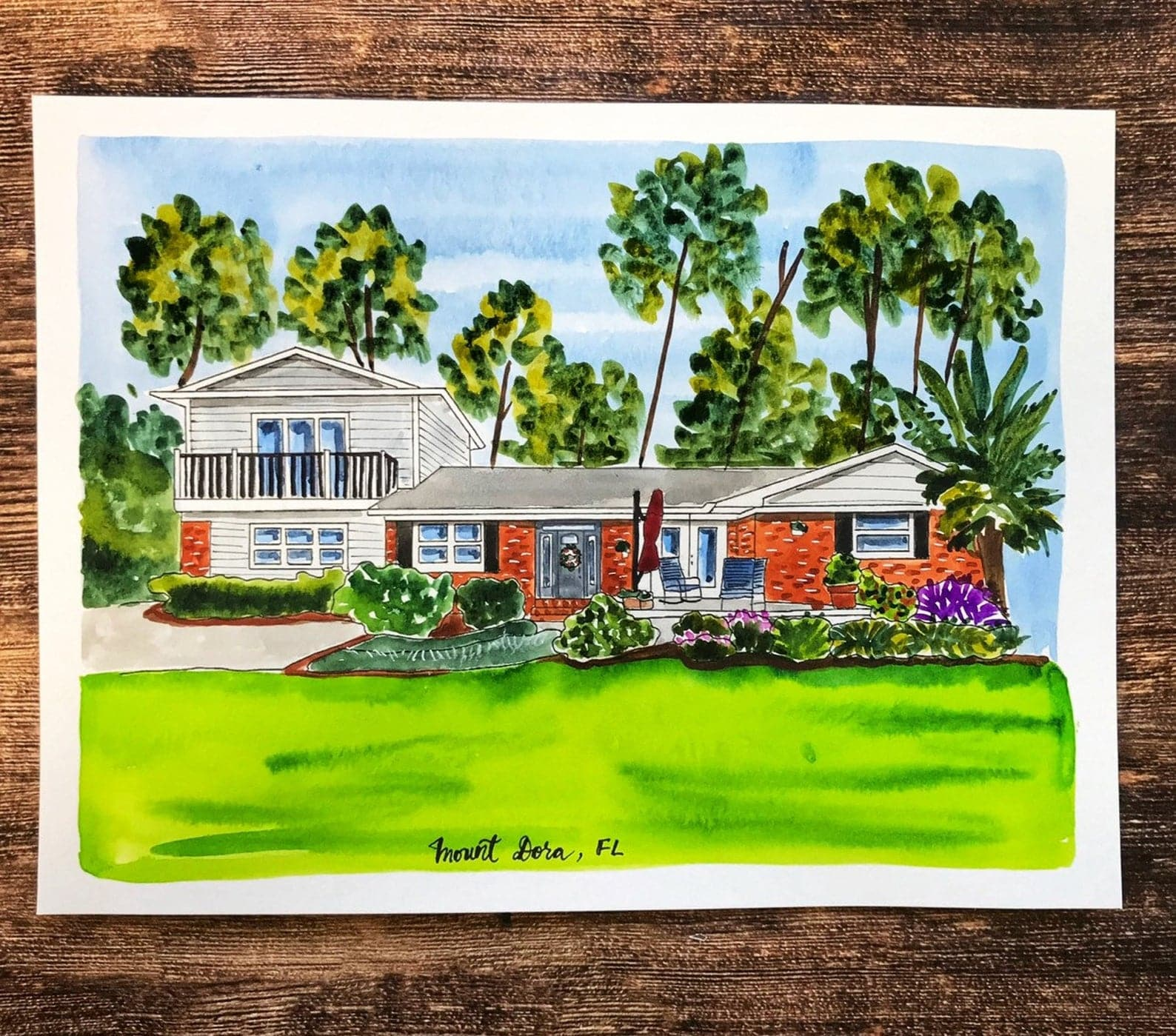 etsy christmas gift watercolor of home