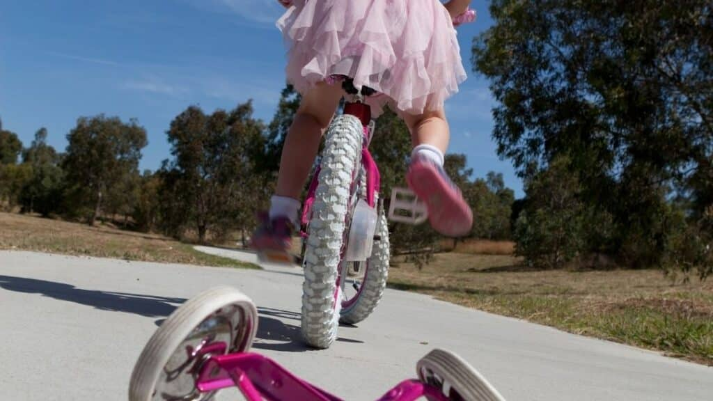 teaching your child to ride a bike - tutu and bike picture