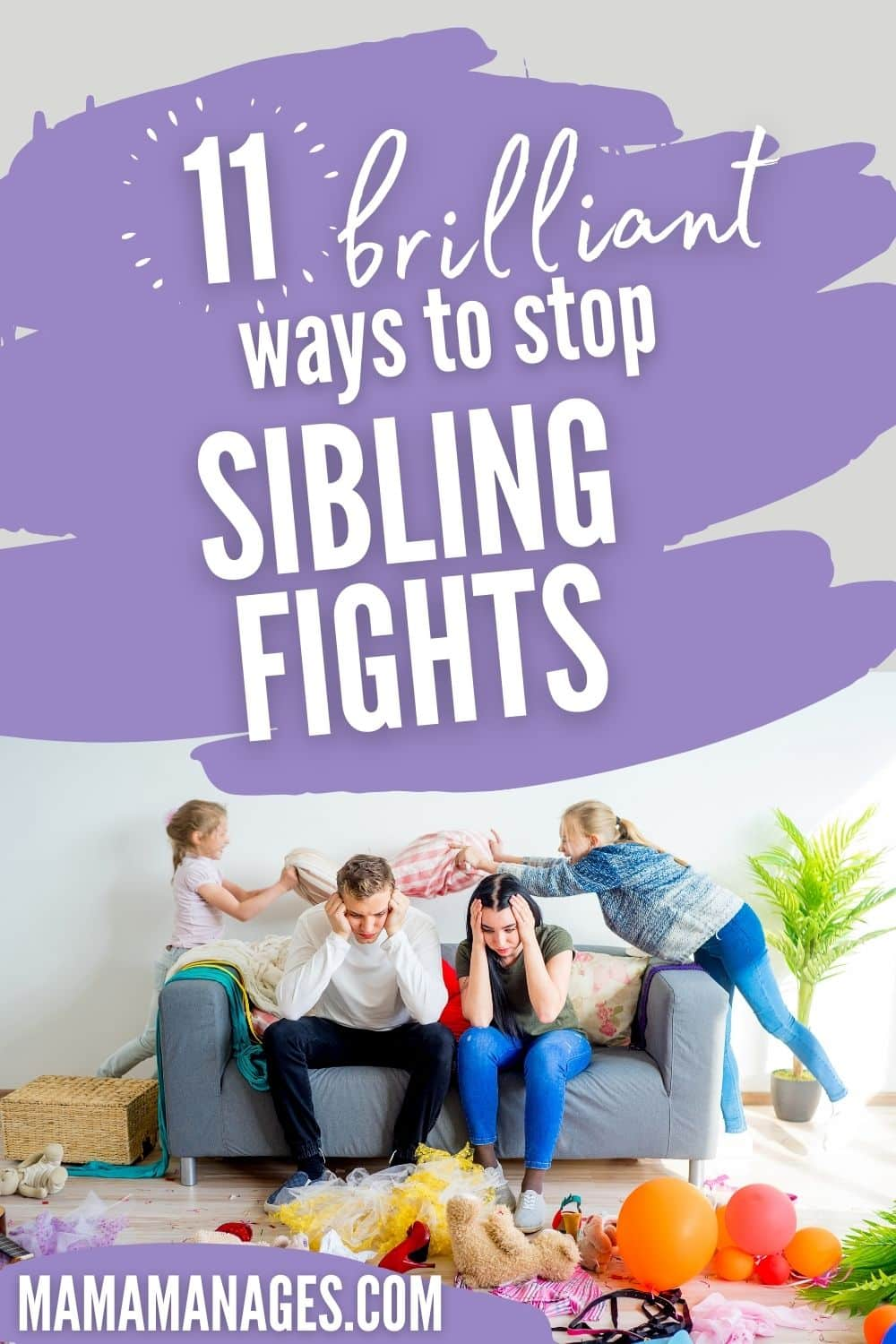 kids fighting all the time and parents frustrated on the couch