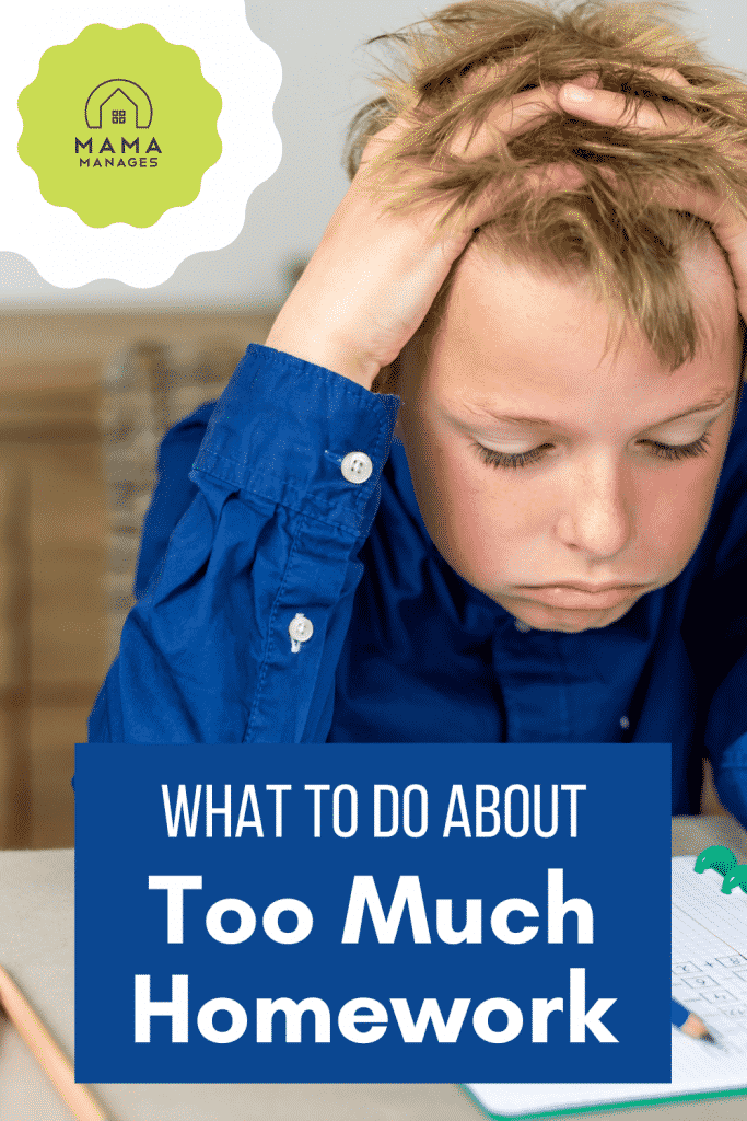 frustrated boy doing too much homework pin