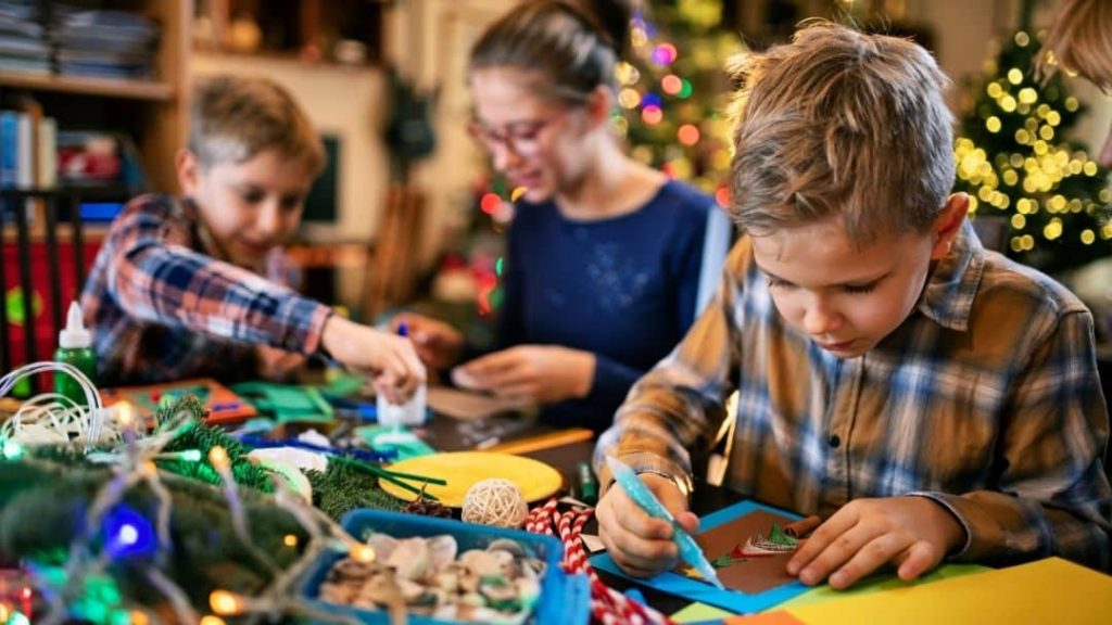 family doing crafts - family night ideas