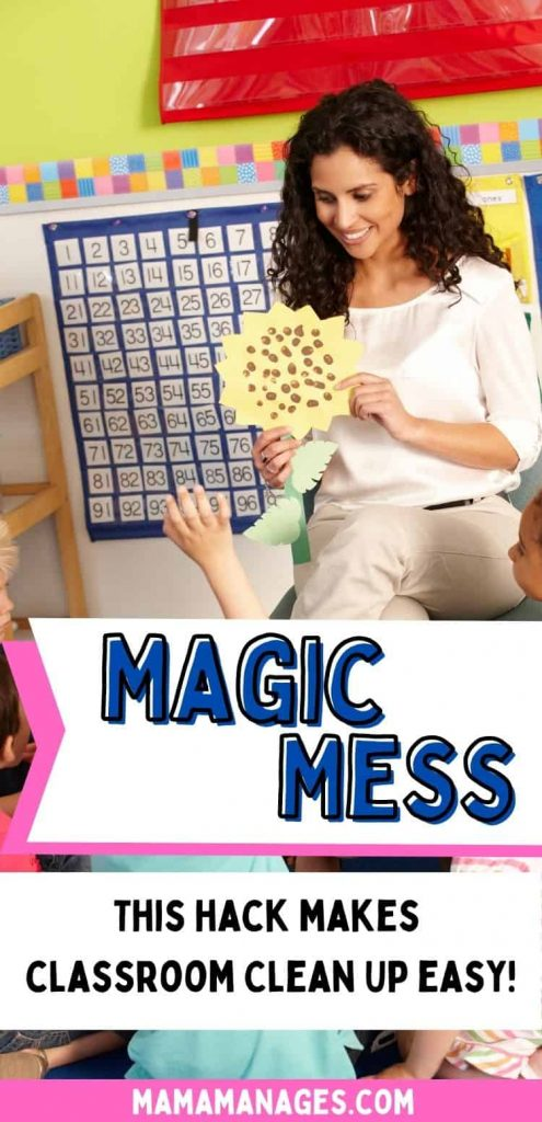 magic mess pin - teacher leading circle time before classroom clean up