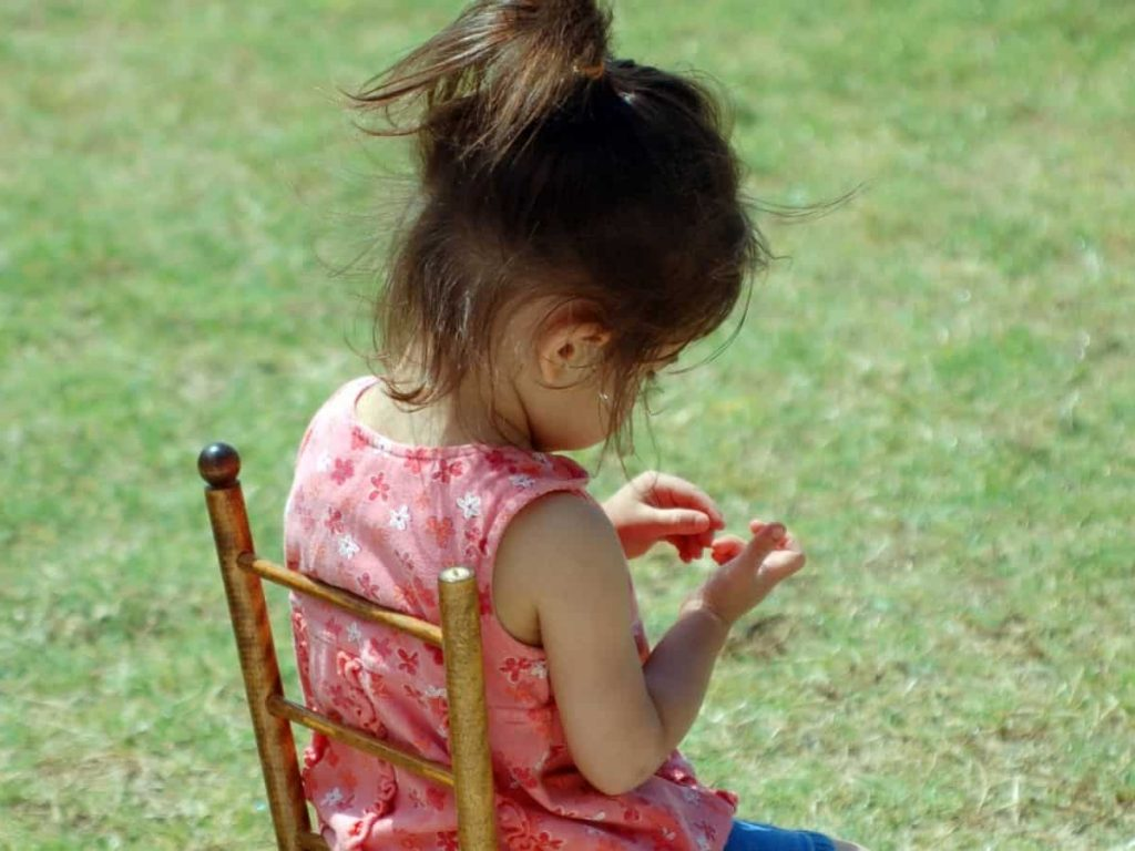 little girl in a timeout chair - threat vs. warning