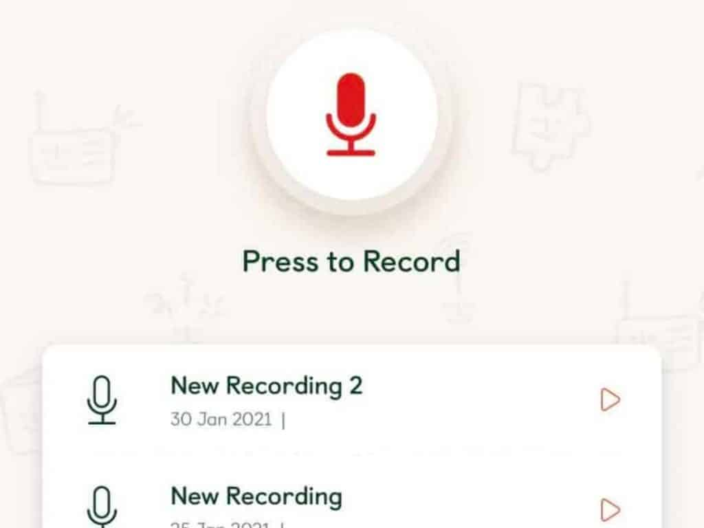 screenshot of the press to record page