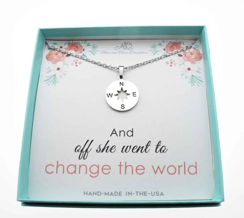 compass necklace for a 5th grade graduation gift for girls