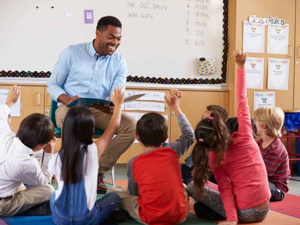 talkative students raising hand and hoping to be called on by teacher