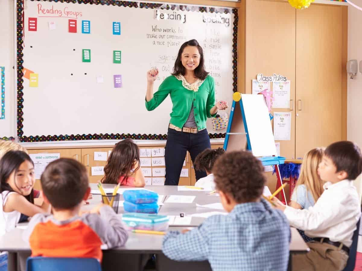 child talks too much in class featured image - teacher with green cardigan addressing students