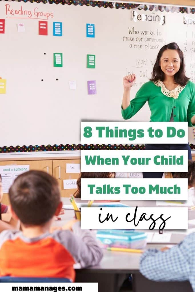 pinterest pin for child talks too much in class