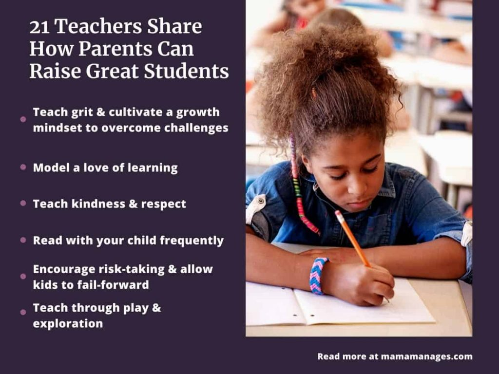 infographic with summary of teacher points - help your child succeed in school