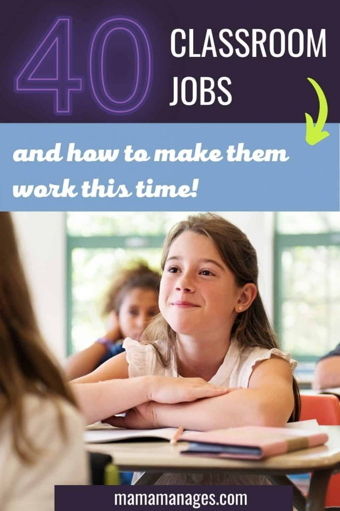 40 Classroom Jobs Pin with eager student at desk