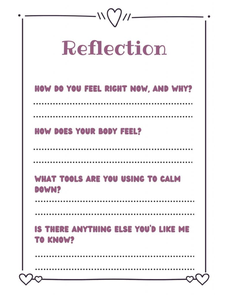 reflection form for early elementary