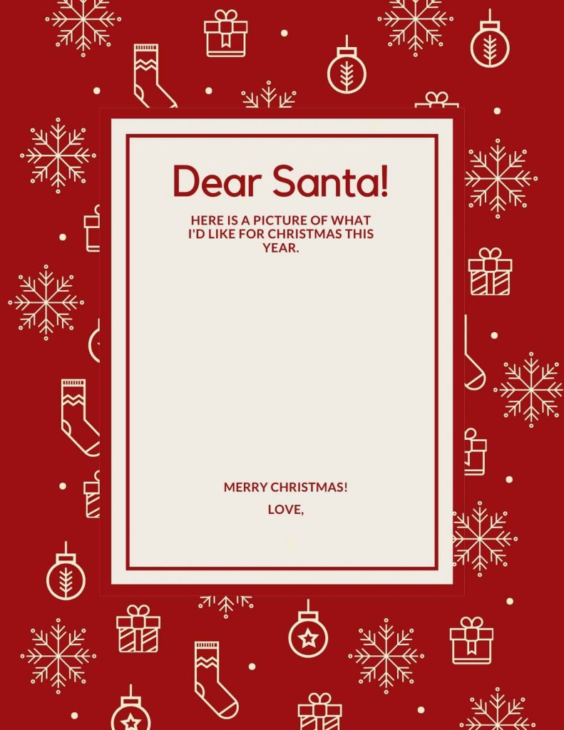 letter to Santa template for kids who aren't writing yet