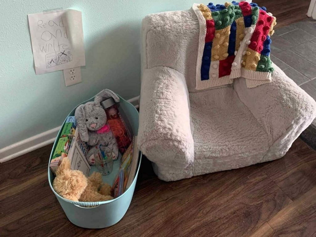 soft comforting items in a calm down corner