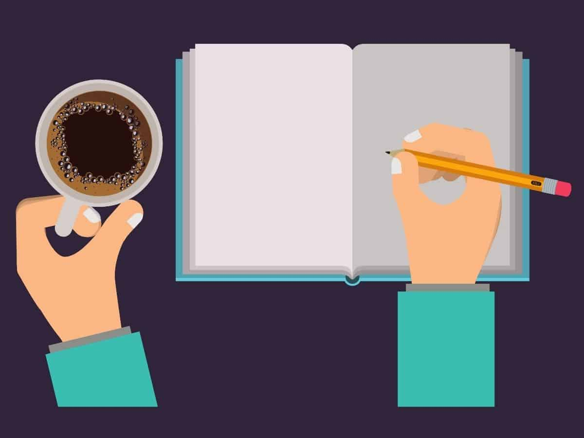 graphic of coffee, notebook and pencil