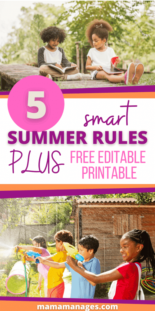 summer rules pin with kids playing