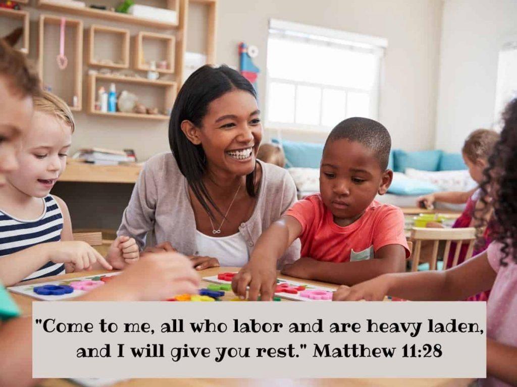 bible verses for teachers - small group instruction with smiling teacher